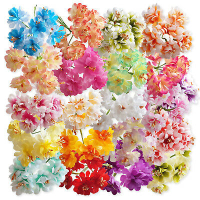 6pcs Wired Stem Artificial Craft Flowers Hair Garland Floral Decoration Wedding