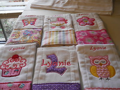 Personalized Appliqued Embroidered Baby Burp Cloth - Set of 4 girl