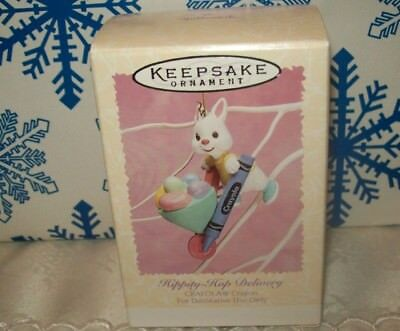 Hallmark Crayola Hippity Hop Delivery 1996 Ornaments Easter Bunny Wheelbarrow