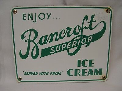 "Enjoy Bancroft Superior Ice Cream 10"" Porcelain Store Advertising Display Sign"