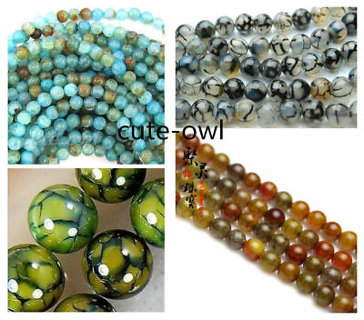 6mm Blue Dragon Veins Agate Round Gemstone Loose Beads 15/'/' Strand AAA