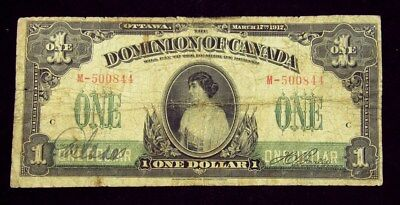 Dominion of Canada 1917 Issue $1 Large Size Note - Very Good - Pick #32b PG 182