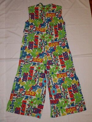 Vtg Orig 60s 70s Women's Psychedelic Peter Max Style Hippie Pant Suit Peace Love
