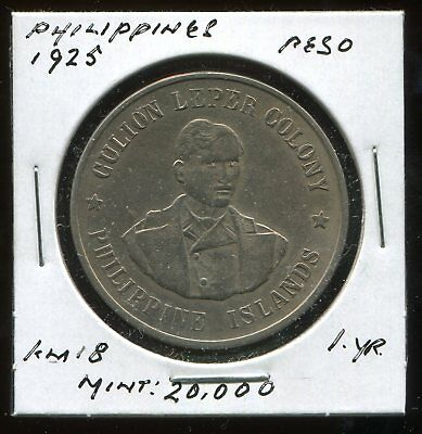 ** Philippines (Culion Island) 1925 Peso...scarce, Low Minted 20 K.**