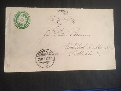 Switzerland Schweiz 🇨🇭 Switzerland 1894 Stationery cover Brunnen to Waldhof