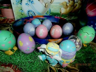 Hallmark Easter Egg Lot 9 Eggs 1 Crayola Bunny Holder 2 Wind Up Eggs