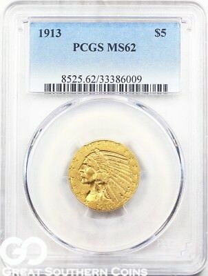 1913 PCGS Half Eagle, $5 Gold Indian PCGS MS 62 ** Free S/H