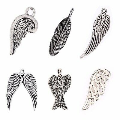 10PCS Feather Double Wing Angel Wings Charms Tibetan Silver Charms Pendant Beads