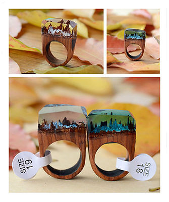 1pcs Handmade Wood Resin Ring Magnificent Tiny Fantasy Secret Snow Landscape