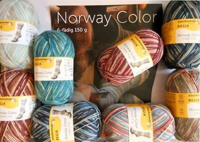 "REGIA Norway Color 6-fädig ""32x150g"" 8 Fb.sort. Sockenwolle 6-fach ""HEUTE"""