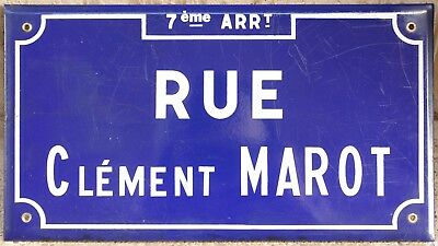 Old French enamel steel street sign plaque road plate Clement Marot poet Lyon