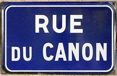 Old French enamel steel street sign plaque road plate name Rue du Canon Orleans