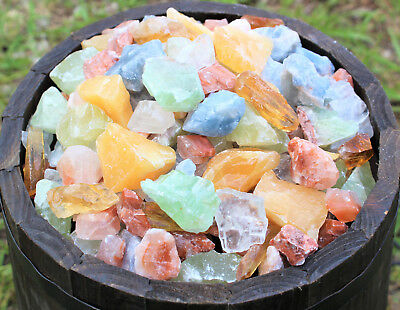 3000 Carat Lot Natural Mixed Calcite Minerals (Orange Red Green Blue Honey Ice)