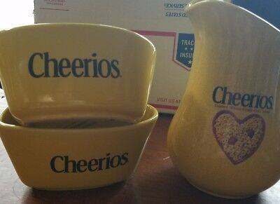 Cheerios Pitcher and 2 Heart Shaped Bowls 2003 General Mills