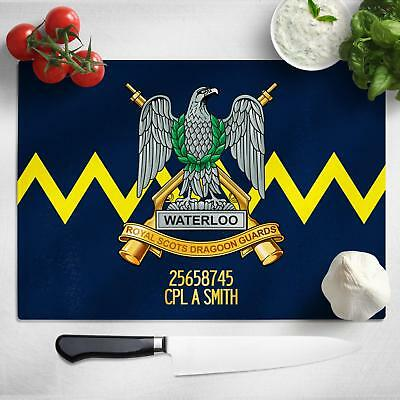 Personalised Scots Dragoon Guards Glass Chopping Cutting Board Worktop MT53