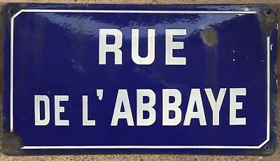 Old blue French enamel street sign plaque plate name Abbey Road abbaye monastery