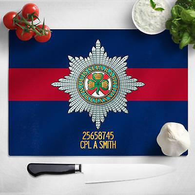 Personalised The Irish Guards Glass Chopping Cutting Board Worktop Saver MT69