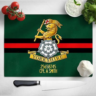 Personalised Yorkshire Regiment Glass Chopping Cutting Board Worktop Saver MT75