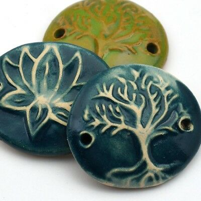 3 artist ceramic handmade blue, green tree life, lotus flower 2 hole components