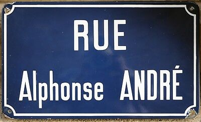 Old French enamel steel street sign plaque road plate name Alphonse Andre Reims
