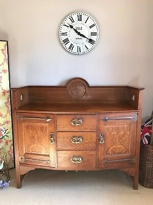 Antique Arts & Crafts Art Nouveau Sideboard Oak Copper Brass Shapland and Petter