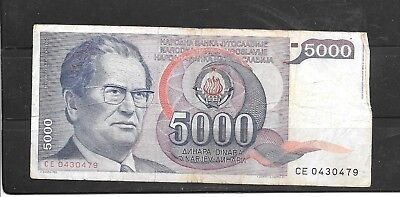 YUGOSLAVIA #93a 1985 VG USED OLD 5000 DINARA BANKNOTE PAPER MONEY CURRENCY NOTE