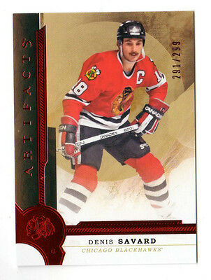 Denis Savard Nhl 2016-17 Artifacts Ruby # 291 /299 (Chicago Blackhawks)
