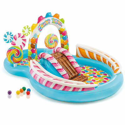 Intex Kids Inflatable Candy Zone Swim Play Center Kids Splash Pool w/ Waterslide