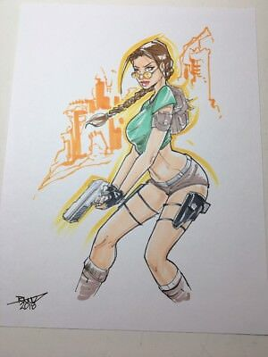 ORIGINAL ART:  LARA CROFT the ORIGINAL TOMB RAIDER by Randy rantz Kintz