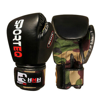 Sporteq Boxing Punching Gloves Army Rex Leather Martial Arts Fight Training