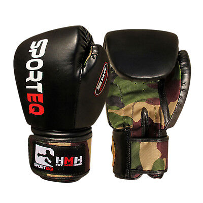 Sporteq Pair Kids Boxing Punching Gloves Army Rex Leather Martial Arts Training