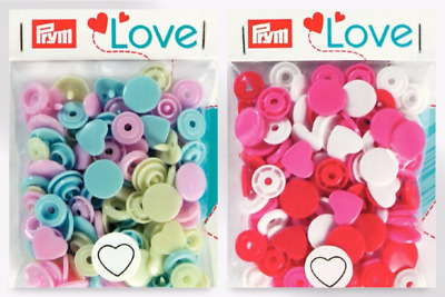 Prym Love Plastic Heart Coloured Snaps Press Fasteners - per pack of 30 (3930...