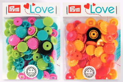 Prym Love Plastic Flower Coloured Snaps Press Fasteners - per pack of 30 (393...