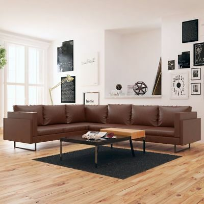 vidaxl chesterfield ecksofa eckcouch loungesofa couch 6 sitzer kunstleder braun eur 527 99. Black Bedroom Furniture Sets. Home Design Ideas