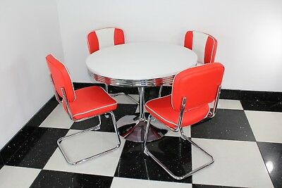 American 50s Diner Furniture Round Table U0026 4 Red/White S Chairs