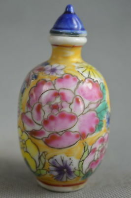Fine Collectable Handwork Old Porcelain Paint Blooming Flower Lucky Snuff Bottle