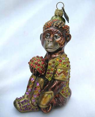 Autographed Jay Strongwater Swarovski Bejeweled Glass Monkey Ape Ornament 2003