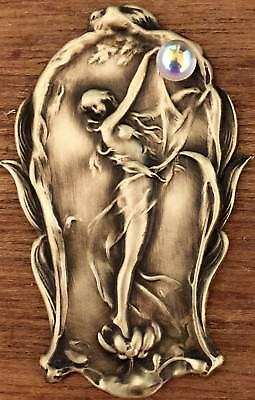 "Large Stamped Brass Art Nouveau Woman ""HOLDING GLASS CRYSTAL BALL""Button~2 1/2"""