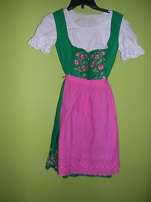 Vintage Bavarian Dirndl Green with pink  flowers, pink apron,  3 pieces