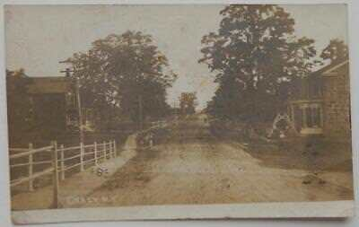 Antique 1912 RPPC Photo Postcard Chasy New York Dirt Road Stone Home Sidwalk