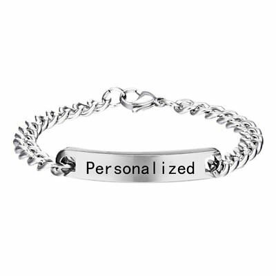 Stainless Steel Personalized Engraved Custom Letter Name Bracelet Bangle Jewelry