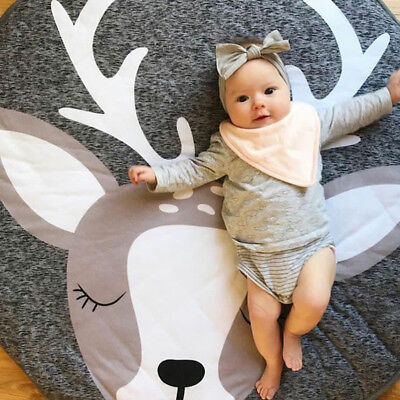Deer Pattern Play Game Mat Crawling Rug Child Kids Blanket Carpet Cotton Playmat