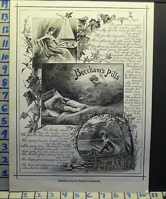 1888 Beecham Pill Remedy Laxative Outdoor Medical Cure Health Vintage Ad L28