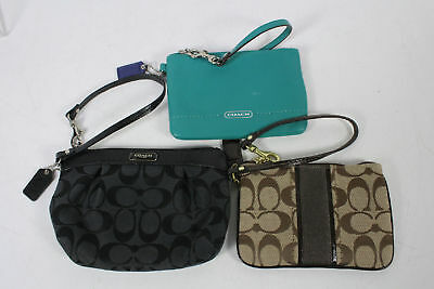 Lot 3 Coach Black Brown Green Leather Canvas Signature Pleated Wristlet Purse