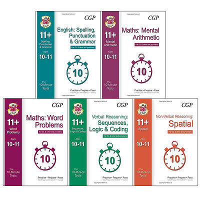 10-Minute Tests for 11+ English,Maths 5 Books Collection Set Test Providers NEW