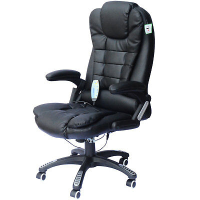 Deluxe Reclining Faux Leather Office Computer Chair 6-Point Massage High Back