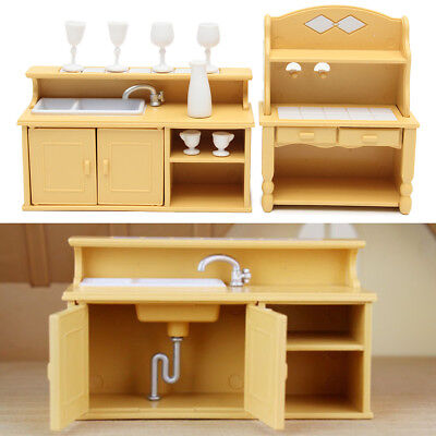 Plastic Kitchen Cabinets Miniature Doll House Furniture Set Dining Room Decor