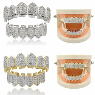 18K Gold Silver with Plated Top & Bottom Mouth Teeth Hiphop Grills High Quality
