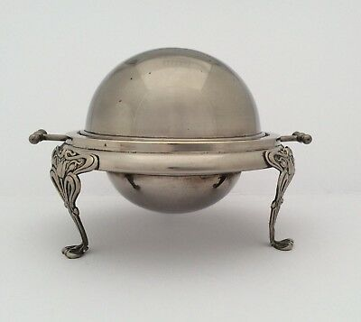 Rare Antique Art Nouveau Silver Plated Footed Roll Top Butter/Caviar Dish C1900