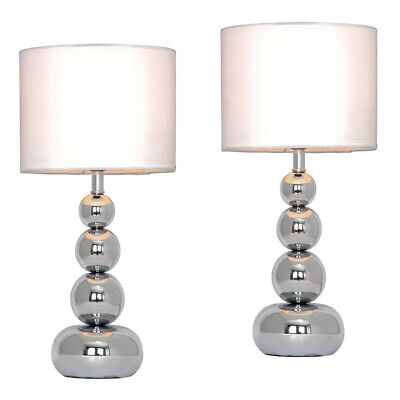 Pair of Modern Silver Chrome  White Touch Bedside  Lounge Table Light Lamps